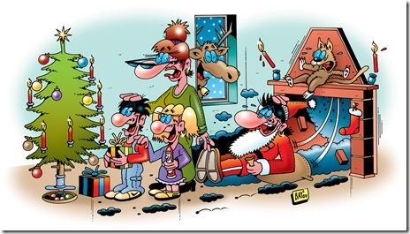 Witziges Weihnachtsmann Bild mit Weihnachtswitz